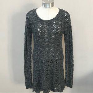 Gray BETHANY MOTA Crocheted Crewneck Long Sweater